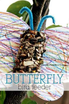 Butterfly Bird Feeder Craft. A really easy diy project idea for your garden