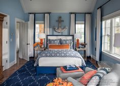 The Fairmont Bed in Marine Blue & White looks stunning in the 2015 HGTV Dream Home.