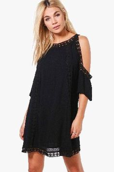 #boohoo Jelena Crochet Detail Swing Dress - black DZZ57156 #Boutique Jelena Crochet Detail Swing Dress - black