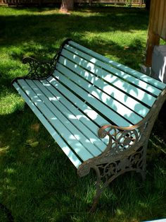 garden bench updates, outdoor furniture, outdoor living, painted furniture, Old cedar slat bench painted in my favourite turquoise paint in an exterior grade latex Wrought Iron Bench, Cast Iron Bench, Outdoor Seating, Outdoor Spaces, Outdoor Living, Outdoor Decor, Outside Benches, Garden Furniture, Outdoor Furniture