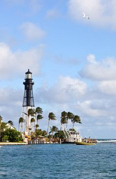 Hillsboro Inlet Lighthouse Florida--every time we go there, it's a mad traffic jam to get across this little draw bridge!  Can't get close to the Lighthouse itself..it's on a country club or something...