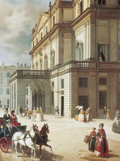 La Façade du théâtre de la Scala, Angelo Inganni, huile sur toile, 1852. Musée du théâtre de la Scala, Milan.