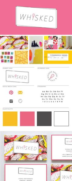 Deluxe Branding Package for Creatives on Etsy /// Bakery logo design + moodboard. Love the pink and yellow color palette!