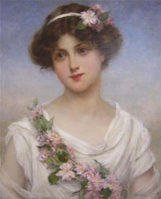 Lady with Flowers ~ François Martin Kavel ~ (French Images Vintage, Vintage Pictures, Pretty Pictures, Vintage Prints, Vintage Art, Vintage Ladies, Image Nature Fleurs, Etiquette Vintage, Creation Photo