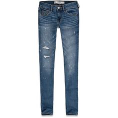 Abercrombie & Fitch Super Skinny Jeans (€58) ❤ liked on Polyvore featuring jeans, painted destroyed light wash, ripped jeans, skinny leg jeans, destroyed jeans, skinny fit jeans and distressed jeans
