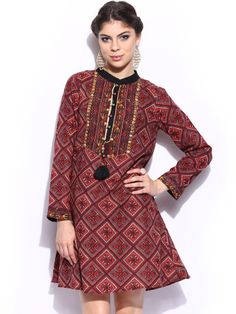 Label by Ritu Kumar Women Maroon & Red Printed Tunic