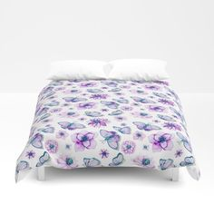 Purple Butterflies Flying Duvet Cover by augustinet | Society6 Butterflies Flying, Airpods Pro, Foot Of Bed, Purple Butterfly, Soft Duvet Covers, Duvet Insert, King Size, Comforters, Two By Two