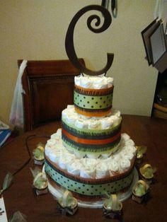 Close up of diaper cake