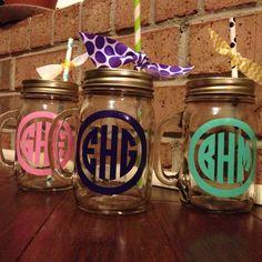 Glass Circle Monogram Mason Jars With Handle Free Paper Straw on Etsy, $8.99