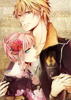 ✮ ANIME ART ✮ anime couple. . .romantic. . .love. . .sweet. . .holding hands. . .pink hair. .. kimono. . .obi. . .hair pulled back. . .kanzashi. . .hair flower. . .hair decoration. . .cute. . .kawaii