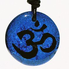 Om Necklace Yoga pendant aum hindu jewelry Dichroic Glass Blue color fused by Zulasurfing Gift
