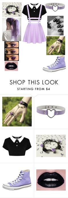 """Purple Pastel Goth"" by shadow-cheshire ❤ liked on Polyvore featuring мода, Barbed и Converse"