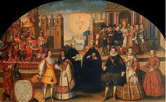 Unión de los descendientes de los Incas Imperiales con las casa de Loyola y Borja - Anónimo. Iglesia de la compañía de Cuzco. 1718
