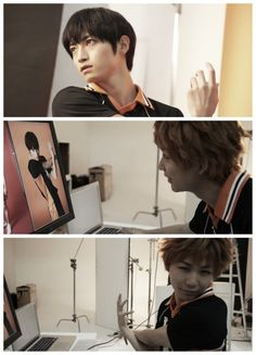 Hinata checks on Kageyama's pictures and tries to imitate him