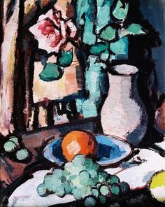 By Samuel Peploe, called the Still Life with Fruit. The author creates a light coming from the left by creating shadows behind all of the objects. Peploe uses colour such as red,green,brown, white and yellow. People creates contrast of the colours for example by using red behind green.