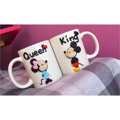 Mickey minnie mouse disney queen king bow mug polymer clay handmade homemade