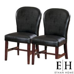 @Overstock - Bring European style to your kitchen with this dark brown side chair set. Similar to European design, this set includes two chairs with sleek, clean lines. Made from Asian rubber hardwood, these chairs are upholstered in bi-cast vinyl.http://www.overstock.com/Home-Garden/Camberwell-Dark-Brown-Side-Chairs-Set-of-2/3546473/product.html?CID=214117 $157.99