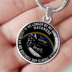 Havanese Pet Bereavement Pendant Necklace No Longer By My Side Dog Remembrance Memorial Jewelry