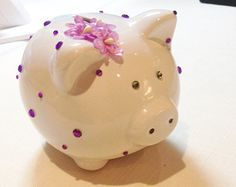 Charming Ceramic Piggy Bank White with Violets - Edit Listing - Etsy