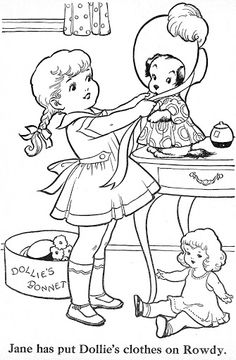 1953 vintage coloring pages Free Kids Coloring Pages, Coloring Pages To Print, Coloring Book Pages, Coloring Pages For Kids, Coloring Sheets, Vintage Embroidery, Embroidery Patterns, Embroidery Stitches, Sue Sunbonnet