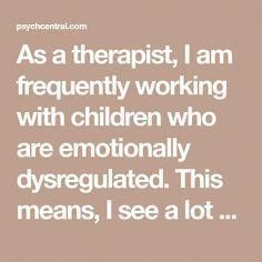 As a therapist, I am frequently working with children who are emotionally dysregulated. This means, I see a lot of behavioral issues, difficulties containing Counseling Activities, Therapy Activities, Therapy Ideas, Physical Activities, Health Activities, Therapy Tools, Art Therapy, Social Emotional Learning, Social Skills
