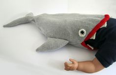 Handmade Knitted Baby Shark Sleeping Bag, Baby Costume by The Miniature Knit Shop