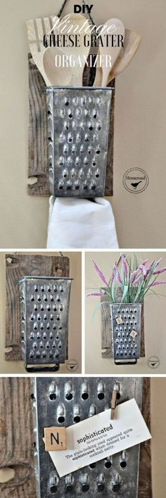 Easy and Simple DIY Rustic Home Decor Ideas #rustic #farmhouse #kitchendecor #kitchenstorage #cheesegrater #farmhousedecor #diydecor #homdecor #vase #holder #ad #tg