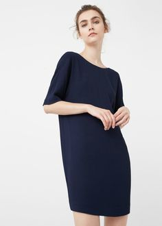 Rounded neck Slit detail on the back Short sleeve Inner lining Mango Outlet, International Brands, Online Shopping Stores, Cold Shoulder Dress, Tunic Tops, Fashion Outfits, Clothes For Women, Style, Dresses