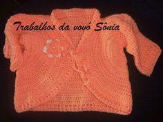 Trabalhos da vovó Sônia: Paletó para bebê pêssego - crochê