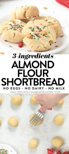 Healthy almond flour shortbread cookies with only 3 ingredients, almond flour, maple syrup, coconut oil, gluten free, paleo, vegan, egg free, dairy free, clean eating approved Gluten Free Bakery, Gluten Free Sweets, Paleo Sweets, Paleo Dessert, Low Carb Desserts, Dairy Free Recipes, Vegan Desserts, Dessert Recipes, Gf Recipes