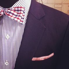 Fun 4th suit with Navy jacket, gingham bow tie and check pocket square