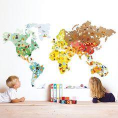 Wereldkaart muursticker met magnetische dieren