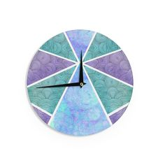 "Pom Graphic Design ""Reflective Pyramids"" Teal Purple Wall Clock"