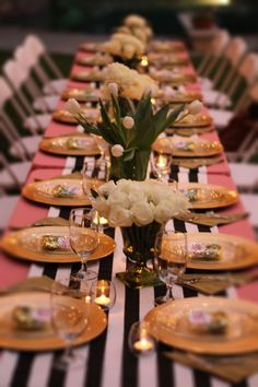 We love the look of long elegant tables for a bridal shower. It is elegant and very reminicent of a royal  table. Every girl should feel like a princess. Vibrantbride.com