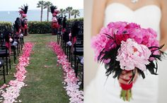 The ombre flanking the aisle rather than a carpet--that way, when walking down the aisle. the colors stay separate. just an idea!