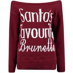 Ruby Santa's Favourite Brunette Slash Neck Christmas Jumper ($24) ❤ liked on Polyvore featuring tops and sweaters