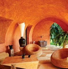 Lounging in beautiful colors. Architect Alex Pössenbacher, who has designed vacation homes in Mexico and Costa Rica, created the loggia in washed ochre colour for this house in Costa Careyes on the Pacific coast of Mexico Architecture Design, Sustainable Architecture, Residential Architecture, Contemporary Architecture, Pavilion Architecture, Japanese Architecture, Decor Interior Design, Interior Decorating, Mud House