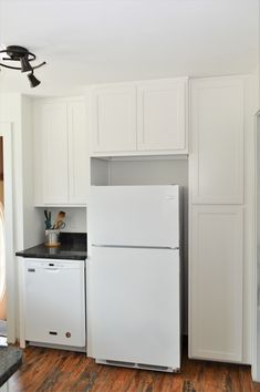BaileyTown USA, Maple, White finish, Chesapeake door style Kitchen Cabinetry, Kitchen Appliances, Top Freezer Refrigerator, White Cabinets, Kitchens, Usa, Home Decor, Style, Kitchen Cabinets