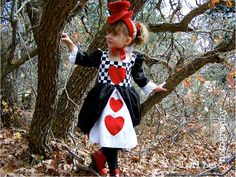Red Queen of Hearts Alice in Wonderland like toddler costume. $58.00, via Etsy.