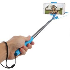 [$3.19] [€3.01] [£2.34] HAWEEL Mini Multifunction Wire Controlled Extendable Selfie Stick Monopod for iOS & Android Phone, Max Length: 70cm(Blue)