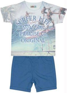 d22abb8f7 CONJUNTO CAMISETA BERMUDA SARJA SURFERS LIFE Conjunto Marisol contendo  Camisa Polo em meia malha, com