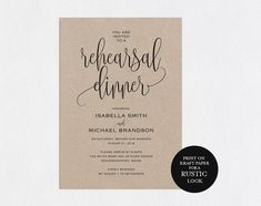 "This template also available in ""Wedding Printables Bundle"" : http://etsy.me/2nMFIuL Purchase this listing to download your high-resolution ""Rehearsal Dinner Invitation Template"" instantly after your payment is complete! (HOW IT WORKS) 1. Download the PDF file(s) 2. Open with"