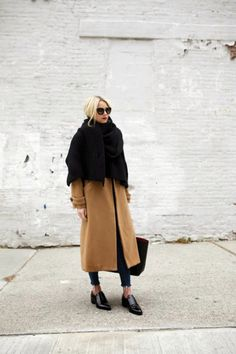 Ankle-Length Coat Trend - camel coat with draped black scarf + menswear loafers