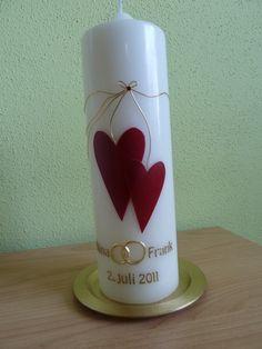 Hochzeitskerzen & Beleuchtung - Hochzeitskerze verschlungene Herzen - ein Designerstück von kerzenunddeko bei DaWanda