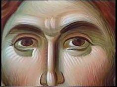 ο π.Λουκάς διδάσκει την τεχνική της αγιογραφίας με πρότυπο την εικόνα του Χριστού του Πανσέληνου.