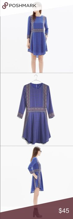 Madewell Silk Tee Dress in Ascot Grid A design team favorite thanks to its elegant silhouette and foulard print (inspired by classic men's ties and vintage handkerchiefs).  Silk, pockets, dry clean.   EUC Madewell Dresses Mini