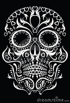 Illustration about Skull design featuring floral Day of the Dead style patterns. Illustration of artwork, pattern, mexican - 16693446 Dragon Tattoo With Skull, Day Of The Dead Skull Tattoo, Day Of Dead, Catrina Tattoo, Totenkopf Tattoos, Skull Illustration, Estilo Rock, Sugar Skull Art, Sugar Skulls