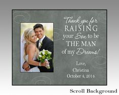 thank you for raising your son, personalized wedding picture frame