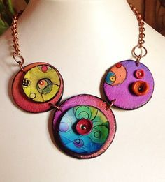Polymer clay necklace Planets... unique handmade by ImpastArte