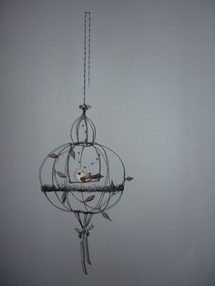 "Items similar to Air sculpture - Cage ""the sphere and the bird"". on Etsy Wire Picture Frames, Iron Wire, Bird Cages, Paperclay, Wire Baskets, Wire Crafts, Wire Art, Metal Art, Etsy"